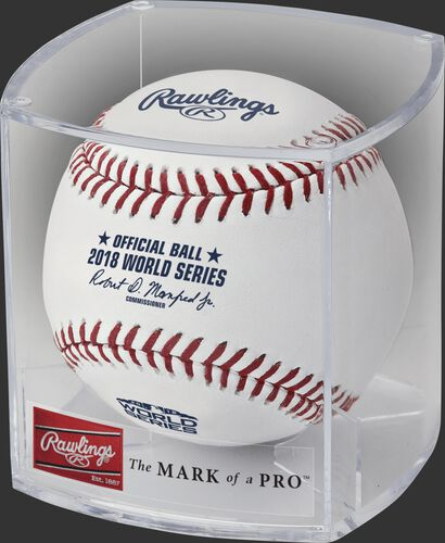 A WSBB18 official 2018 World Series ball in a clear display cube