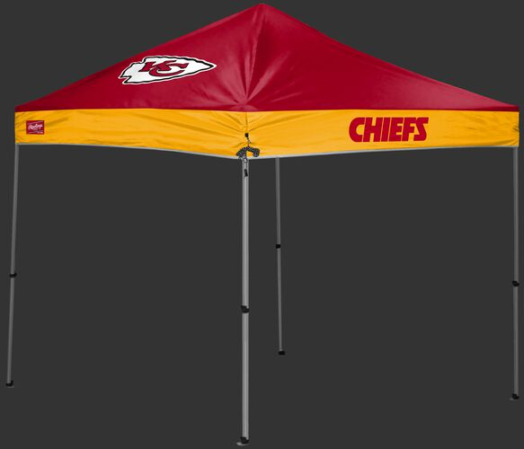 A  red/yellow Kansas City Chiefs 9x9 shelter with a team logo on the left side - SKU: 03231071112