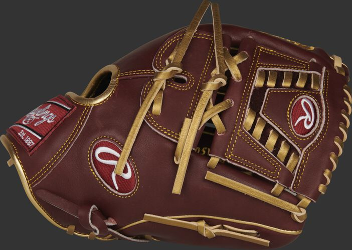 Thumb of a maroon 2020 exclusive Heart of the Hide R2G infield/pitcher's glove with metallic gold laces - SKU: PROR205W-30SHG