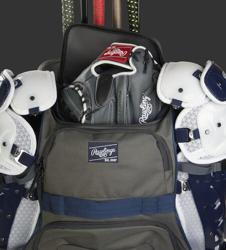 R1801 Rawlings wheeled equipment backpack with a glove in the top glove compartment