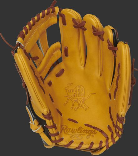 PRONP5-7BU Rawlings Heart of the Hide infield glove with a butterscotch palm, butterscotch web and tan laces