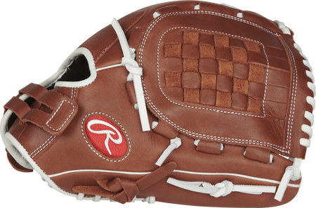 Thumb view of a brown R9SB120-3DB R9 Series 12-inch fastpitch pitcher/infield glove with a brown Basket web