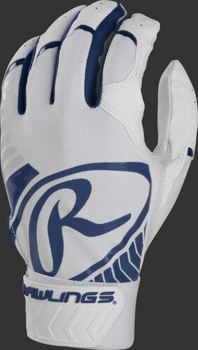 Back of a white/navy adult 5150 batting glove with a large navy oval-R across the back of the palm - SKU: BR51BG-N