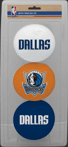 Rawlings White, Brown, and Navy NBA Dallas Mavericks Three-Point Softee Basketball Set With Team Logo SKU #03524208114