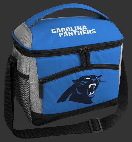 A Carolina Panthers 12 can soft sided cooler with a team logo on the front - SKU: 10111090111