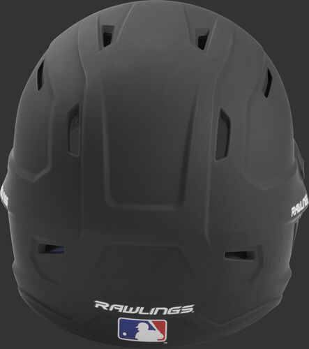 Back of a black MACH high performance senior helmet with the Official Batting Helmet of MLB logo