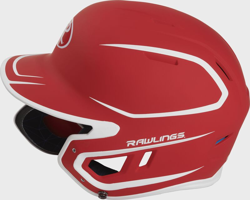 Left side of a MACHEXTR junior Rawlings batting helmet with a two-tone matte scarlet/white shell