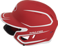 Left side of a MACHEXTR junior Rawlings batting helmet with a two-tone matte scarlet/white shell image number null
