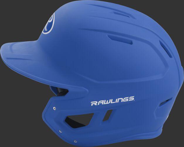MACH senior Rawlings batting helmet with a one-tone matte royal shell