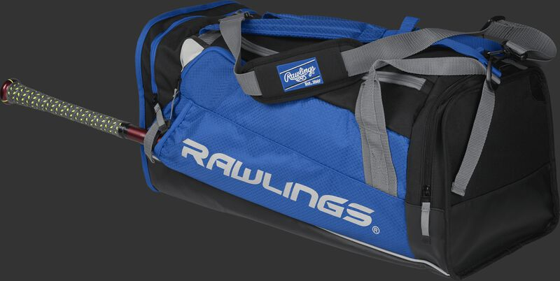 Side angle view of a royal R601 Hybrid players duffel bag with a bat in the side sleeve