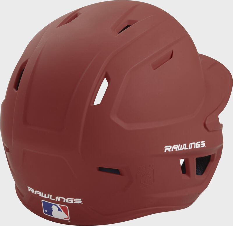 Back right of a one-tone matte cardinal MACH Rawlings batting helmet