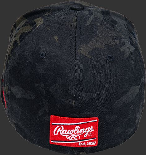 Back of a Rawlings Black Clover Diamond MultiCam fitted hat with a Rawlings patch on the back - SKU: BCR1DM0071