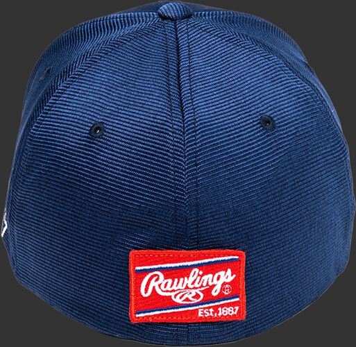 Back of a navy Black Clover All Star hat with a red Rawlings patch - SKU: BCR1ASN0071