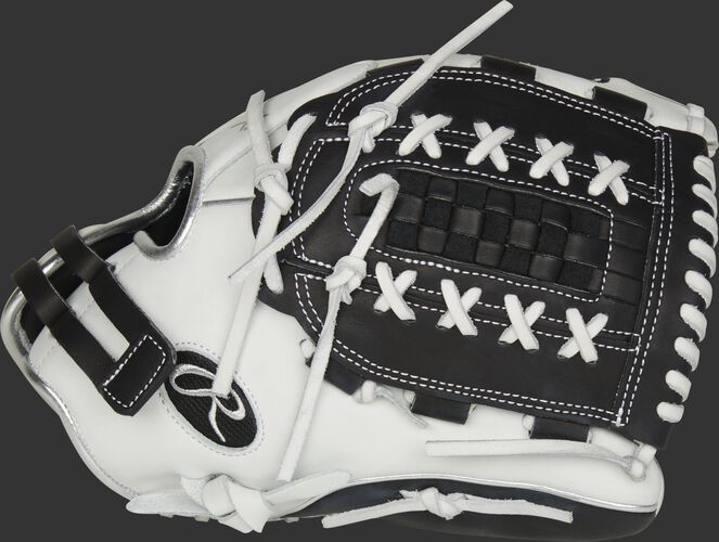 Thumb of a white RLA125-18BP Liberty Advanced Color Series 12.5-inch fastpitch glove with a black Double Laced Basket web