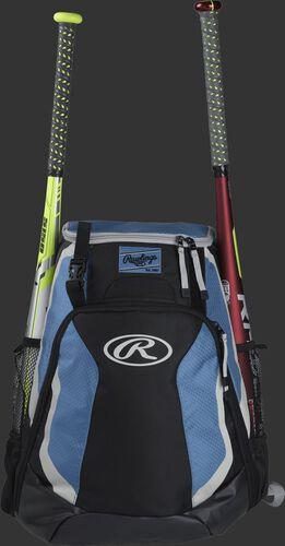 A black/columbia blue R500 Rawlings equipment backpack with a bat on each side