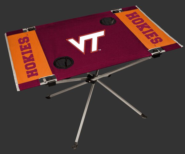 NCAA Virginia Tech Hokies Endzone table featuring team logos and team colors and two cup holders SKU #04053111111