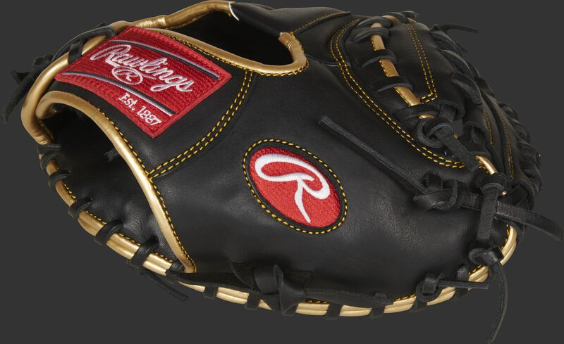Thumb of a black R9 Series 27-Inch catcher's training mitt with a black 1-piece solid web - SKU: R9TRCM