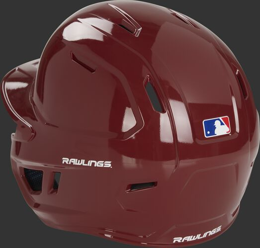 Back left of a cardinal red MCH01A Rawlings high school Mach helmet with optimized air ventilation