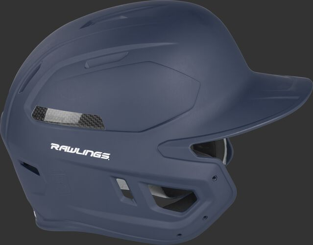 Right side of a matte navy CAR07A Rawlings high school/college MACH Carbon helmet