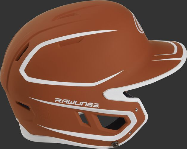 Right side of a two-tone matte orange/white MACH helmet