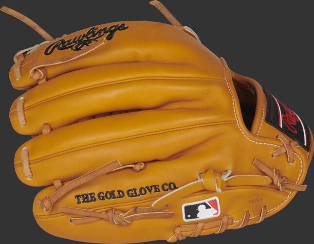 Tan fingers of a Rawlings 11.75-Inch HOH R2G glove with the MLB logo on the pinkie - SKU: PROR205-4T