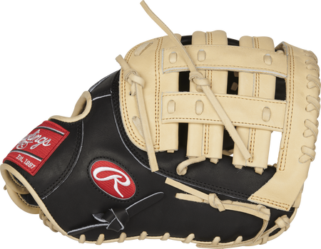 Thumb view of a PRORFM18-17BC Rawlings R2G 12.5-inch first base glove with a camel modified H web