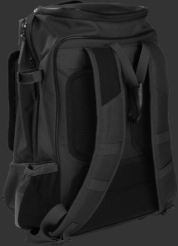 Left back view of a black R701 training bag with black shoulder straps