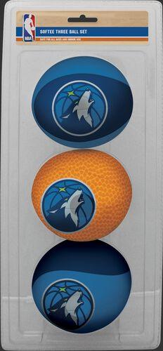 Rawlings Navy, Brown, and Blue NBA Minnesota Timberwolves Three-Point Softee Basketball Set With Team Logo SKU #03524214114