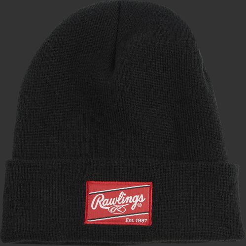 A black Rawlings cuffed knit hat with a red Rawlings patch on the front - SKU: RSGKC-B