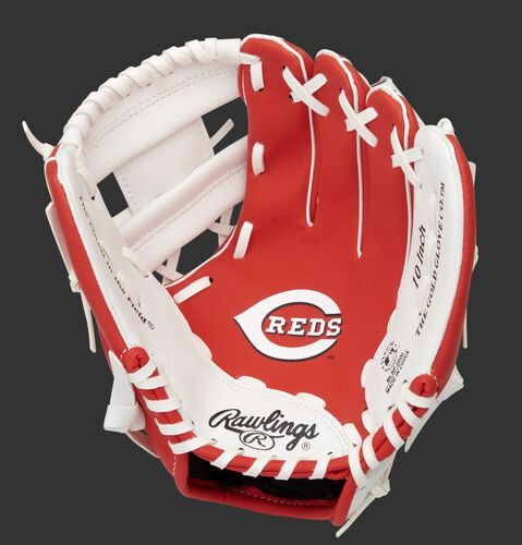 A red/white Rawlings Cincinnati Reds youth glove with a Reds logo stamped in the palm - SKU: 22000023111