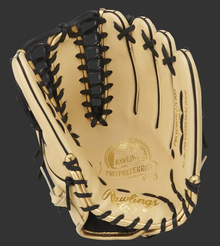 Camel palm of a Pro Preferred outfield glove with gold stamping and black laces - SKU: PROS3039-22CBSS