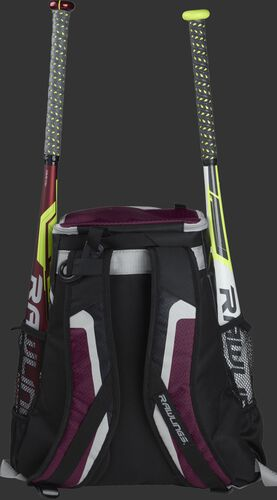 Back of a black/maroon R500 team backpack with two bats in the side sleeves