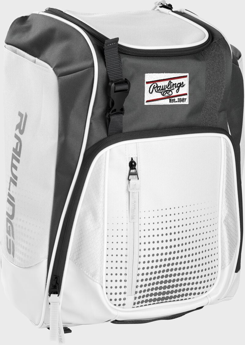 Front left angle of a white Rawlings Franchise bag with gray accents - SKU: FRANBP-W