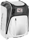 Front left angle of a white Rawlings Franchise bag with gray accents - SKU: FRANBP-W image number null