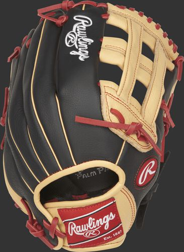SPL120BH Select Pro Lite 12-inch Bryce Harper glove with a black back and camel trim