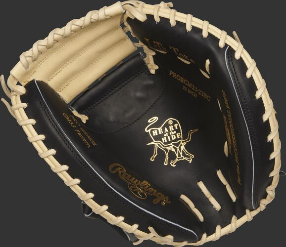 PRORCM33-23BC Heart of the Hide R2G 33-inch catcher's mitt with a black palm and camel laces
