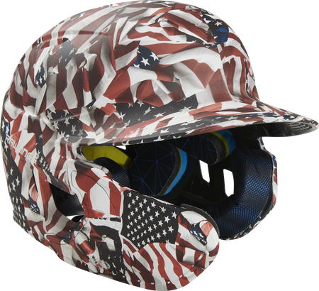 Front right of a MACHEXTL-USA Mach EXT USA hydro dipped helmet with a MEXT attached for a left-handed batter