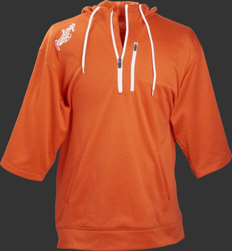 Front of Rawlings Bright Orange Adult Half Sleeve Hoodie with Zipper - SKU #RHTYO-DSW-88