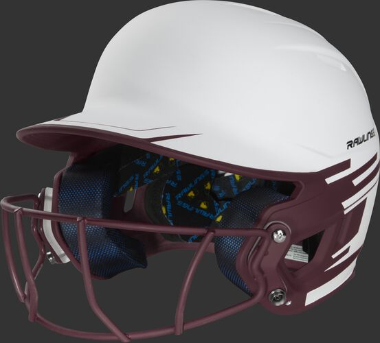 Front left of a white/maroon Mach softball helmet with a maroon mask - SKU: MSB13S-W/MA
