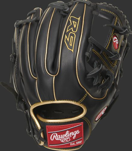 Black back of a R9 series I-web infield glove with gold double welting and red Rawlings patch - SKU: R9314-2BG