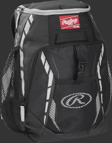 Side angle of a black R400 Rawlings youth players backpack with a Rawlings patch logo and Gray Oval R logo