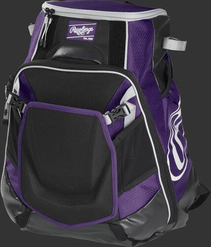 Front left of a purple VELOBK Rawlings Velo equipment backpack with an Oval R logo on the side compartment