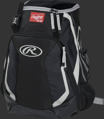 Left side of a black R500 Players team backpack with white trim