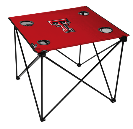 A red NCAA Texas Tech Red Raiders deluxe tailgate table with four cup holders and team logo printed in the middle