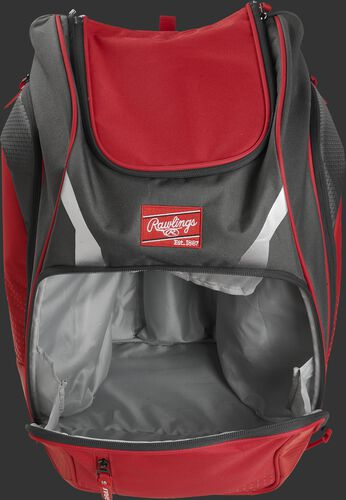 A scarlet Legion gear backpack with the main compartment open - SKU: LEGION-S