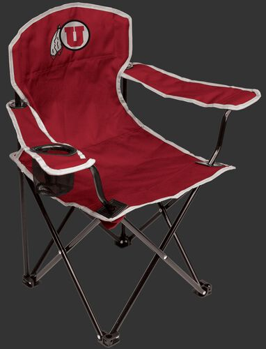 A red NCAA Utah Utes youth chair with a team logo on the back