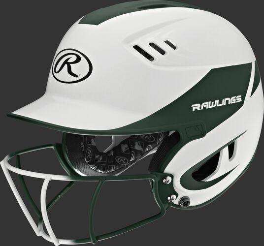 A white/dark green R16H2FGS Velo junior batting helmet with a white/dark green facemask