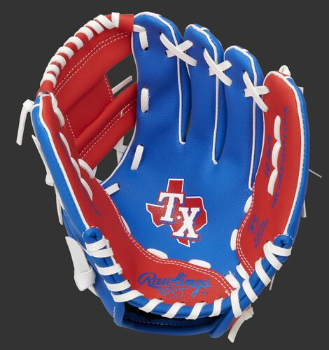 A blue/red Rawlings Texas Rangers youth glove with a Rangers logo stamped in the palm - SKU: 22000022111