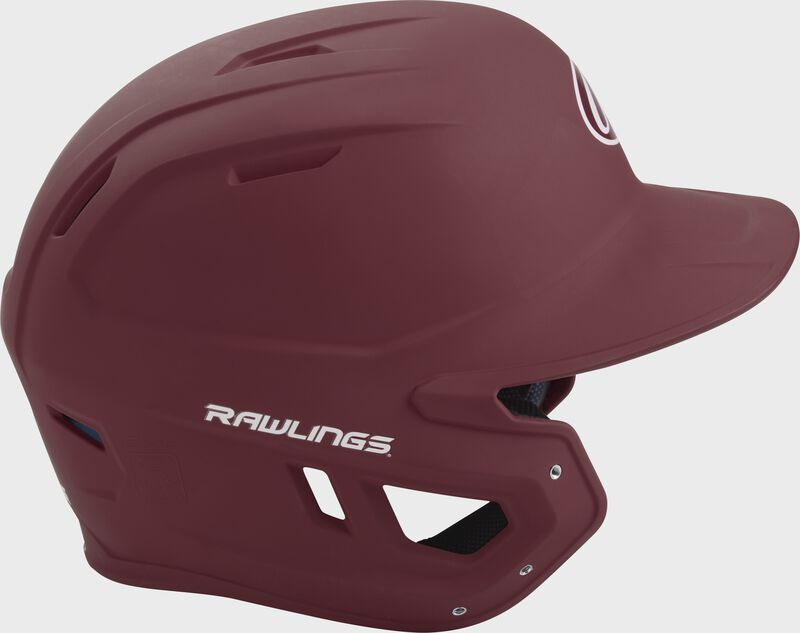 Right side of a matte maroon MACH helmet