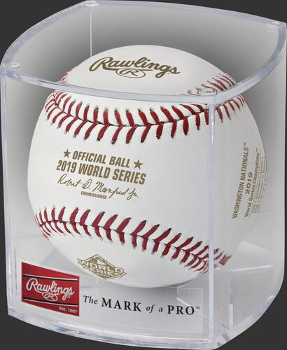 A WSBB19CHMP Washington Nationals 2019 World Series baseball in a clear display cube